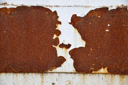shot of a white metal door with rust Stock Photo