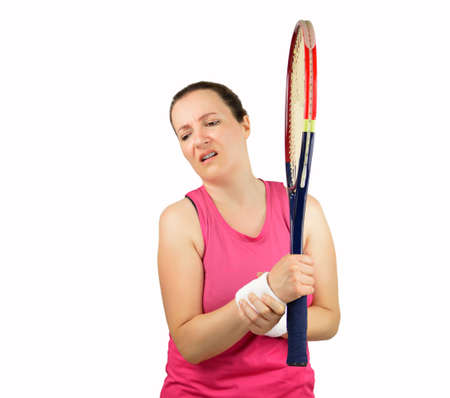 luxacion: shot of a tennis player with a wrist injury isolated on a white background