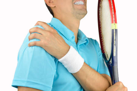 luxacion: Shot of a tennis player with a shoulder injury isolated over white background