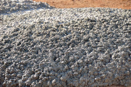 close up of leftover concrete on the floor Stock Photo