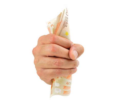 money holding hand salesman close paid salesperson Stock Photo
