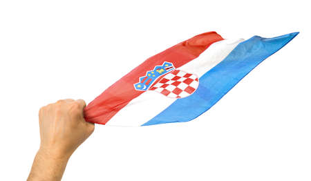 Croatian fan holding the flag of Croatia isolate with white background