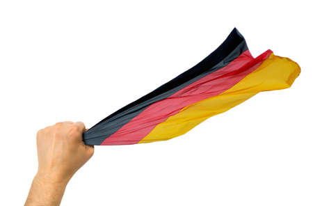German fan holding the flag of Germany isolate with white background