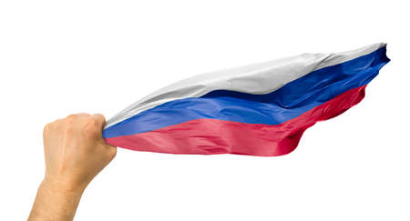 russian fan holding the flag of russia isolate with white background Stock Photo