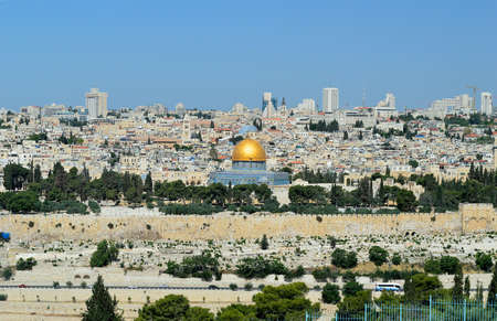 panorama of Jerusalem with of the Temple Mount and Dome of the Rock and Al Aqsa Mosque Stock Photo