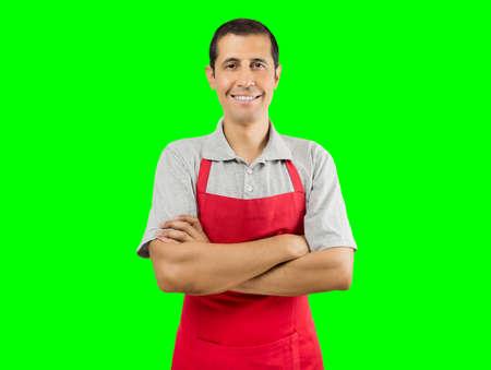 Retrato de recorte aislado shopman sobre fondo verde con clave de croma