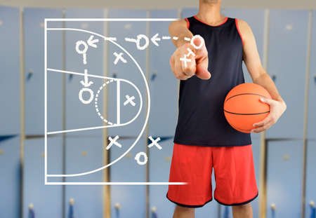 hand of a basketball coach drawing a tactics of  basketball game  with white chalk on blackboard at arena stadium