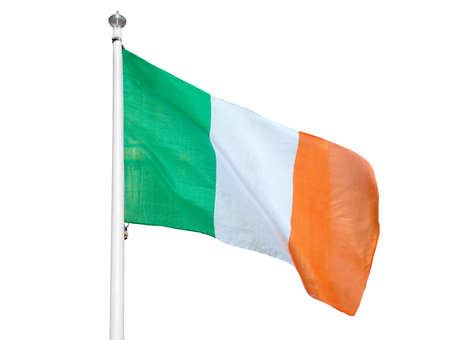National Irish Banner Waving, Rippling in Wind