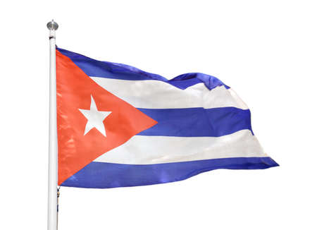 Shot of the cuban flag blowing in the wind with white background Stock Photo