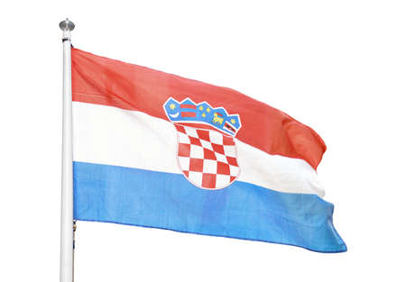 Close-up of Croatia flag with white background Stock Photo