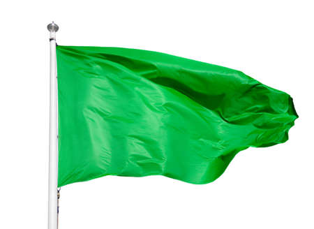 Close-up of green flag with white background
