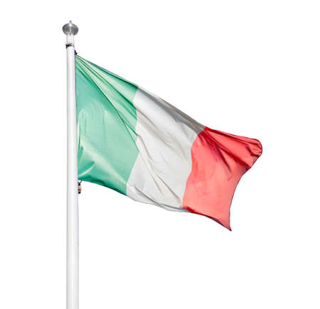 Shot of the Italian flag blowing in the wind with white background Stock Photo
