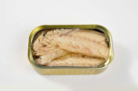 High angle shot of delicious canned mackerel on white background