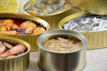 Auswahl an Dosen mit verschiedenen Arten von Fisch und Meeresfrüchten