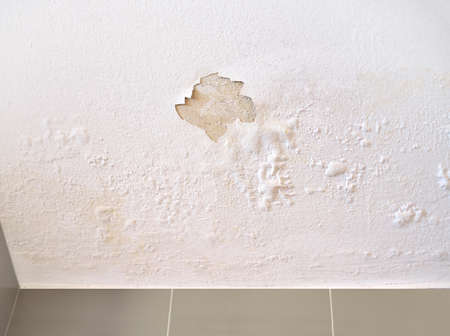 Ceiling panels damaged as a moisture in the roof from rainwater leakage. Stock Photo