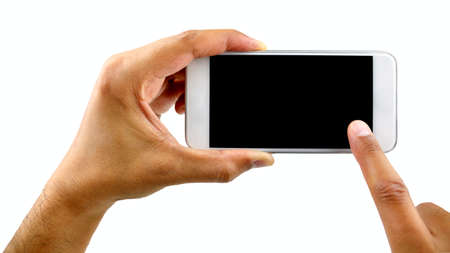 man hand is holding a white modern smart phone against a white background