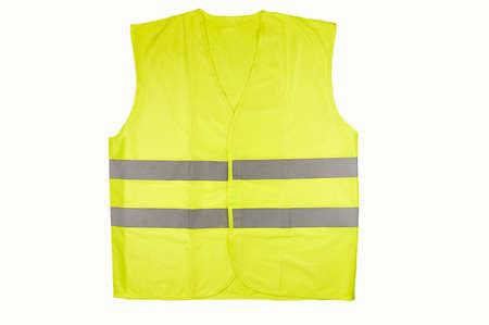 Gilet jaune isolé sur noir Banque d'images