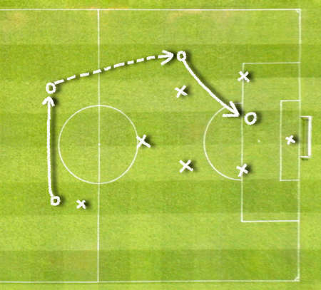Graphic a tactics of soccer game with white chalk and on an unfocused background of a playing field. All screen content is designed by us and not copyrighted by others and created with digitizing tablet and image editor Stock Photo