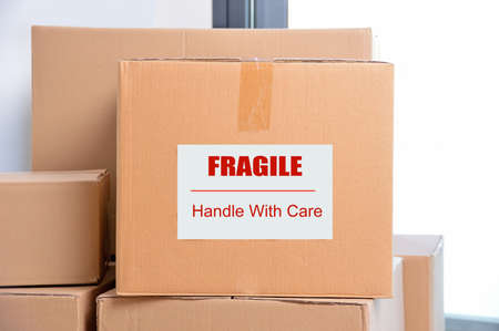 boxes with fragile poster 写真素材