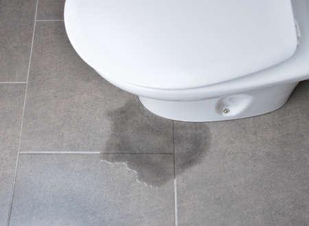 Lekkage van water uit een toilet door verstopping van de leiding