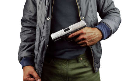 closeup of an armed terrorist with white background
