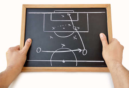 coach with a blackboard with tactics with white background Stok Fotoğraf