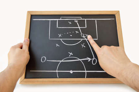 coach indicating with the finger the tactic of the meeting on the blackboard with white background