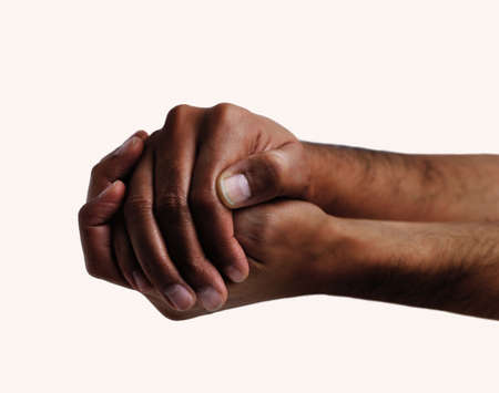 African man hands hiding something isolated on a white background
