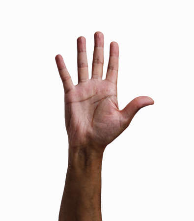 Close-up of man hand showing five fingers with white background