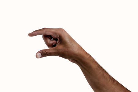 African hand making the symbol that means pick up on white background