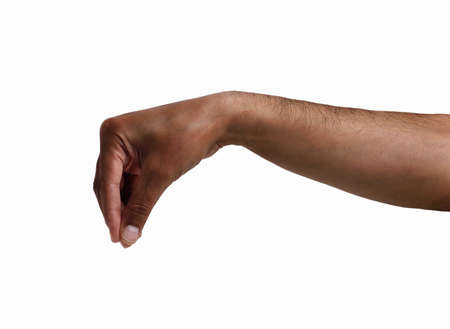 hand of an African man pulling something isolated on white Stok Fotoğraf