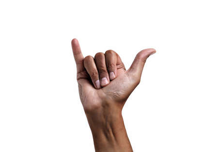 African man hand in shaka or calling gesture on a white isolated background Stok Fotoğraf