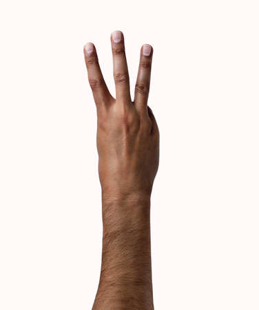 African man hand showing three fingers on a white isolated background