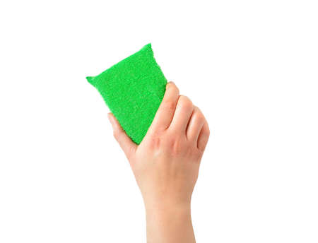 Woman hand holding a cleaning sponge isolated with white background Imagens