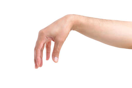 hand of a man making the gesture of throwing an object with white background