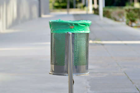 Isolated of street waste basket at city