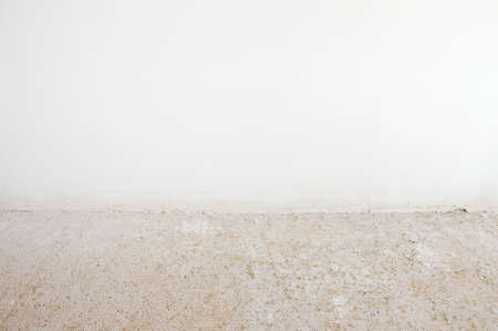 Abstract empty interior background, blank white wall and concrete floor, contemporary architecture