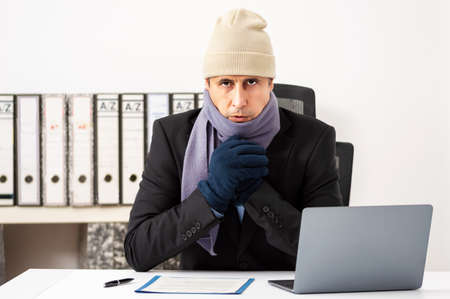 Portrait shot of a angry businessman having cold at office Banque d'images