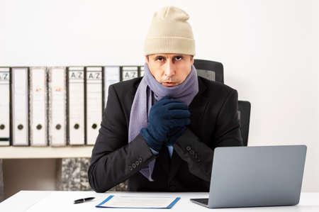 Portrait shot of a angry businessman having cold at office Reklamní fotografie