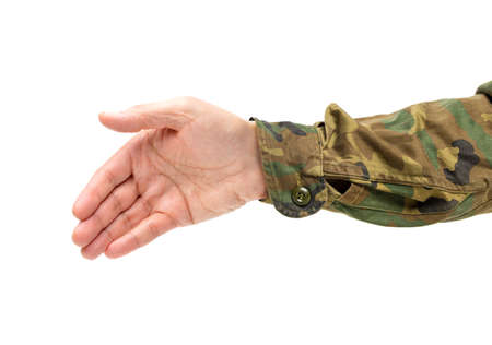 Cropped shot of an unrecognizable man hand ready for handshaking on a white isolated background