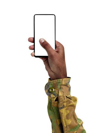 Man hand holding and touching a mobile phone screen with his thumb on a white isolated background