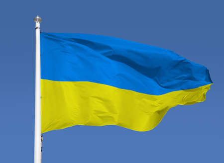 Shot of the ukrainian flag blowing in the wind with sky background