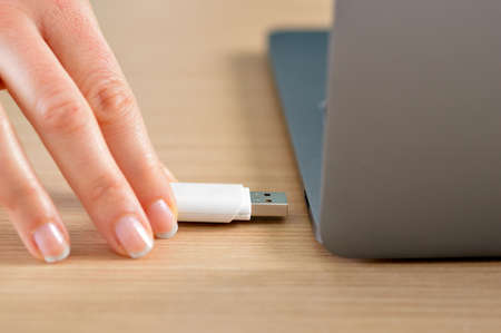 Close up of a woman hand connecting a pendrive in a laptop on a desktop Reklamní fotografie