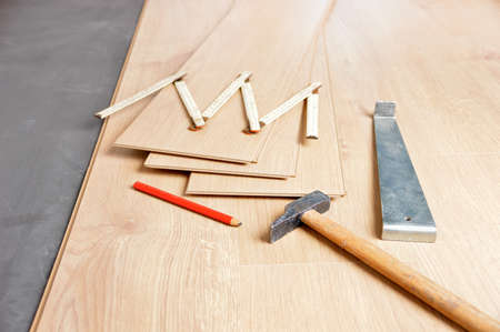 Group of tools to laying laminate at home