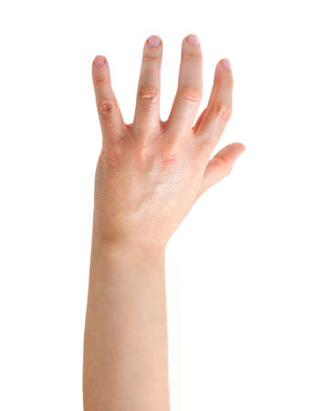 close up of a woman hand with gesture of catching against a white background Archivio Fotografico