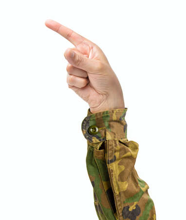 Man hand pointing at side with forefinger isolated on a white background