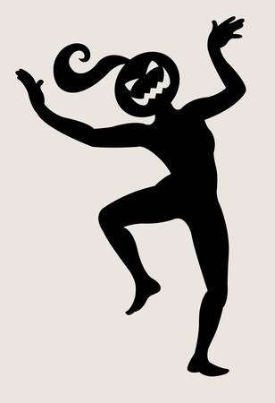 scary story: Halloween dancer silhouette pose, dancing shadow illustration style Illustration