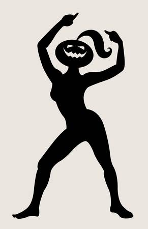 Halloween dancer silhouette pose, dancing shadow illustration style Vector