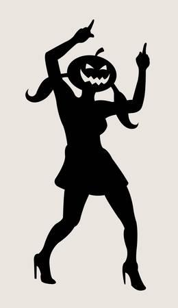 Halloween dancer silhouette pose, dancing shadow illustration style Vector