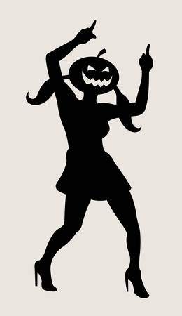 freedom woman: Halloween dancer silhouette pose, dancing shadow illustration style Illustration